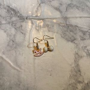 Hand Crafted Jewelry - ROCKING HORSE | Enamel Earrings Stainless Steel